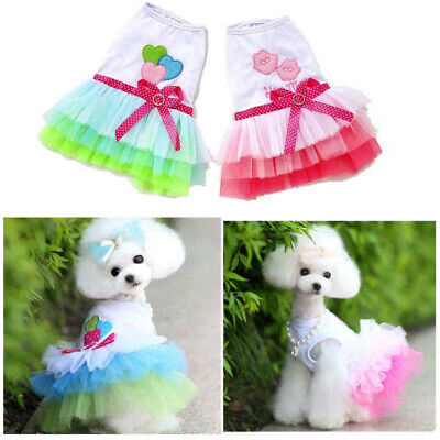 Small Pet Dog Puppy Cat Bow Lace Skirt Tutu Dress Princess Hot Costume Apparel  (Bow Costume)