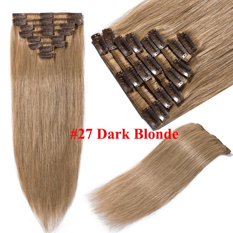 50CM 60CM Echthaar Clip In Extensions Remy Haar Haarverlängerung 8 teilig Set DE #27 Dunkelblond