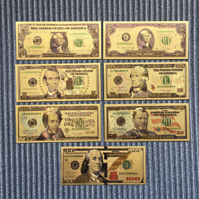 7 PCs//Set Collectibles Dollars Ancient Antique Gold Plated Bill World Collection