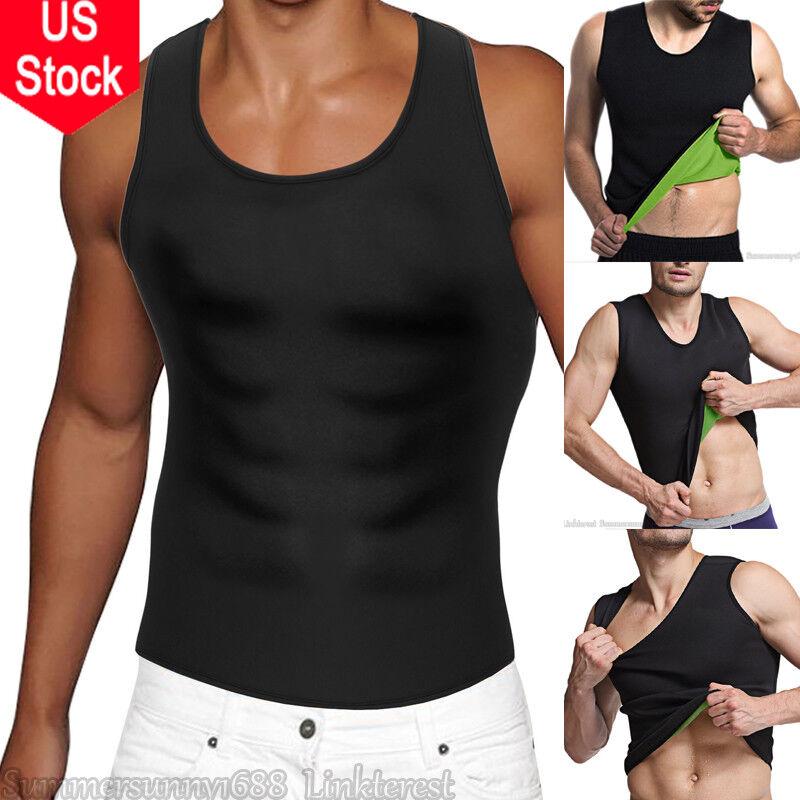 Mens Neoprene Slim Shirt Hot Body Fat Burner Shaper Waist Trainer Tank Top Vest