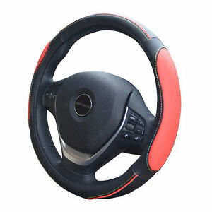 Steering Wheel Black Leather Cover - Red or Blue -  37-38cm NEW