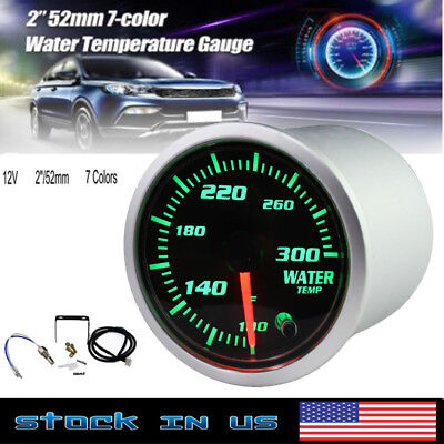 52mm Silver  7 Color LED Water Coolant Temperature Temp Gauge Meter - °F ()