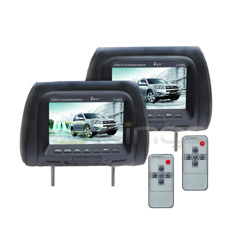 "New TView T726PL BK 7"" Dual Black Headrest Widescreen TFT LCD Pair Car Monitors"
