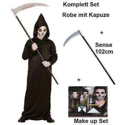 SENSEMANN + Sense + Make Up Set  Kostüm Kinder Grim Reaper Tod Halloween - Grim Reaper Kostüm Kind
