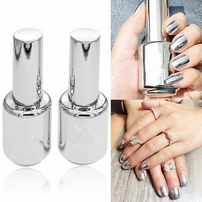 2Pcs 15ML Metallic Mirror Effect Nail Polish Metal Silver Varnish &15ML Top Coa