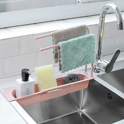 YZCH Dish Drainer,Telescopic Sink Rack Holder Expandable Storage Drain Basket for Home Kitchen