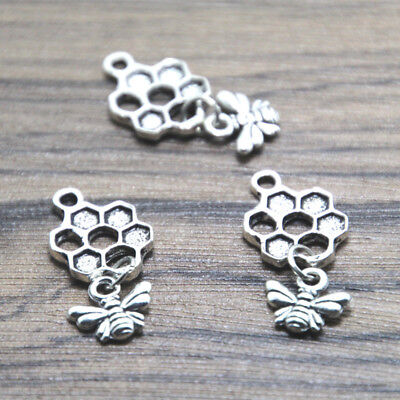 30pcs Bee and Honeycomb Charms silver tone Bee and Honeycomb pendants 13 x 20 mm - Bee Charms