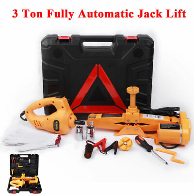 12V Automatic Electric Scissor Car Lift Jack Repair Tire Wheel Chang Kit 2T/3T G