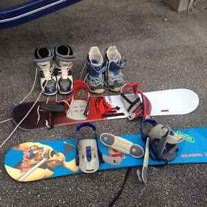 2 sets snowboards and boots