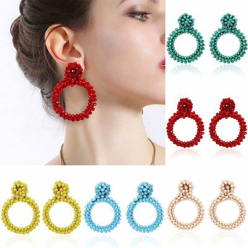 Fashion Handmade Crystal Beaded Earrings Women Ring Drop Dan
