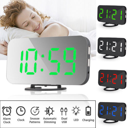 LED Snooze Alarm Clock Brightness Dimmer Table Clock USB Charge Battery Backup