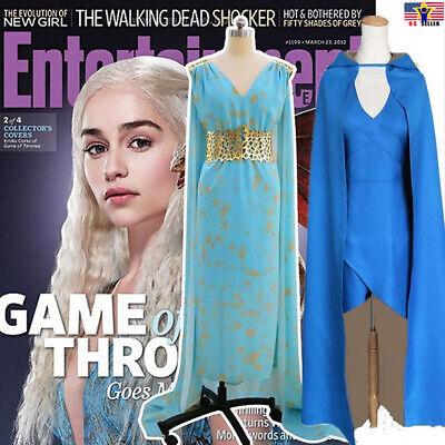 Spiel Thron Cosplay Daenerys Targaryen Kostüm Blau Kleid Cape Perücke Halloween