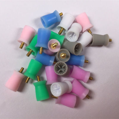 100 Pcs Dental 4 Webbed Screw Grinding Plain Polishing Cup Silicone Color Mixed