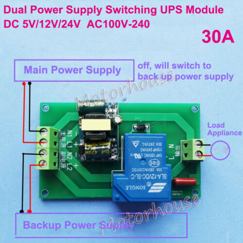 Dual Power Supply Automatic Switching Module UPS Controller Turn off on Switch