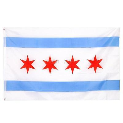 5' Outdoor Indoor Banner (3x5 Chicago City Illinois IL Flag Polyester Grommets Flag Banner Outdoor Indoor)