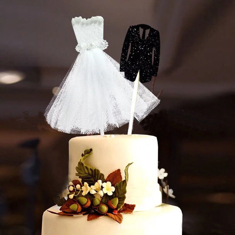 Bride Dress Wedding Cake Topper Groom Cupcake Topper Party