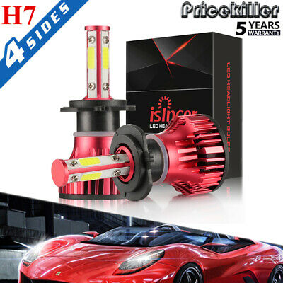 Pair 4-sides H7 CREE LED Headlight Kit 2000W 6000K 300000LM Replacement Bulbs JO for sale  China