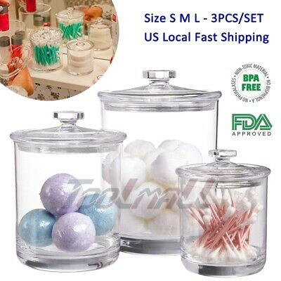 Set of 3 Apothecary Multifunctional Acrylic Jars with Lids – Clear Plastic Jars