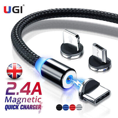 2.4A Magnet Fast Charging Cable Magnetic Charger IOS Lightning Type-C Micro USB