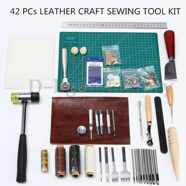 42 PCs Leather Craft Sewing Tool Kit Set Punch Cutter Groover Beveler Stitching