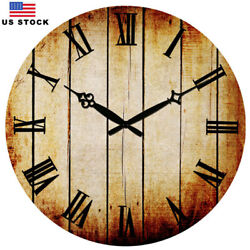 15 Retro Wooden Wall Clocks Home Room Decor Antique Time European Style No Tick