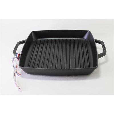 Staub Grillpfanne quadratisch schwarz 28 cm rot Gusseisen Rillen Grillen eckig ()