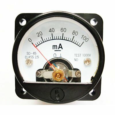Ammeter So-45 Class 2.5 Accuracy Dc 0-100ma Round Analog Panel Meter Black