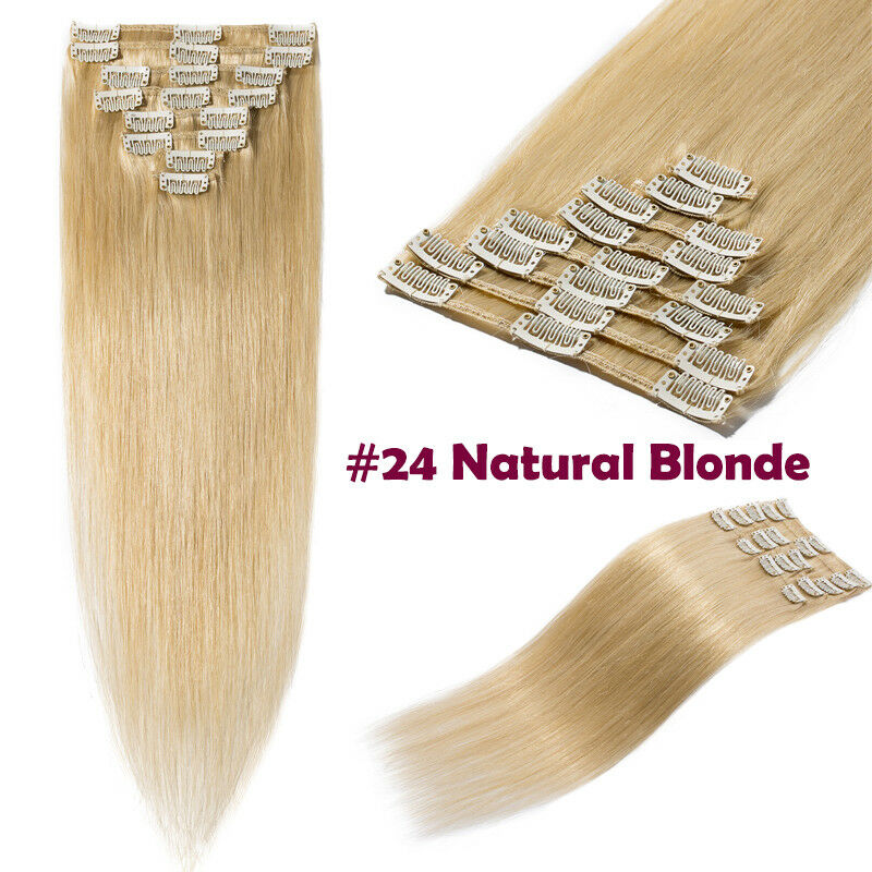 50CM 60CM Echthaar Clip In Extensions Remy Haar Haarverlängerung 8 teilig Set DE #24 Naturblond