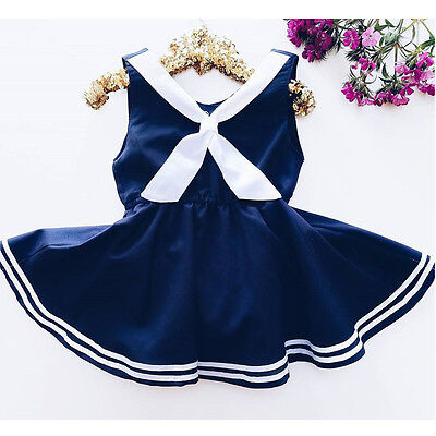 US Summer Toddler Baby Girls Party Dress Navy Blue Sailor Sundress Clothes 0-5Y - Blue Girls Dress