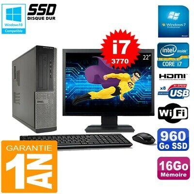 PC DELL 3010 DT Core I7-3770 Ram 16Go Disque 960Go SSD Graveur Wifi W7 Ecran 22
