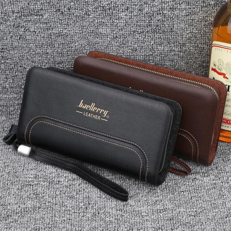 Business Men's Leather Wallet Credit Card Purse Long Clutch Zipper Handbag US Clothing, Shoes & Accessories