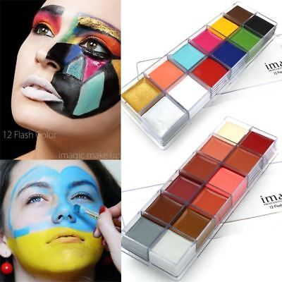 IMAGIC 12 Colors Flash Tattoo Face Body Paint Oil Painting Art Halloween Party F ()
