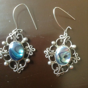 Abalone & Sterling Silver Filigreed Pendant & Earrings