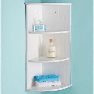 Modern Bathroom White 3 Tier Corner Floating Wall Shelf Storage Shelves Ebay