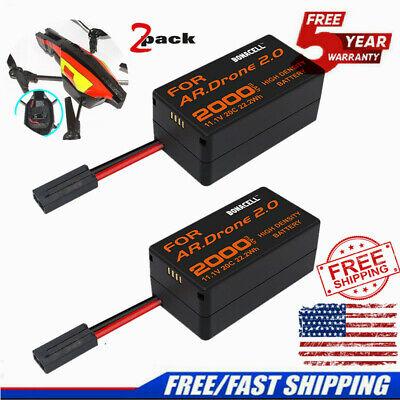 2 PACK 11.1V 2000mAh LiPO Battery for Parrot AR Drone 2.0 Li Polymer upgrade TP