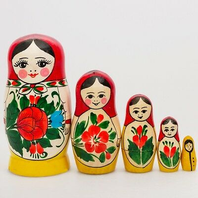 Russian Semenov Nesting dolls Matryoshka set 5 pcs. Hand painted in Russia 4''