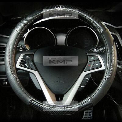 370mm Real Carbon Steering Wheel Cover Black for KIA 2014 2015 Optima K5