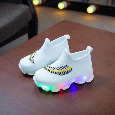 Unisex Kids Boys Girls Embroidery Sport Running LED Luminous Mesh Shoes Sneakers