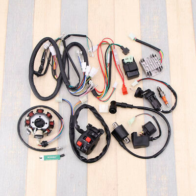 Full Wiring Harness Loom Solenoid Coil Regulator CDI 150 - 250cc ATV Quad