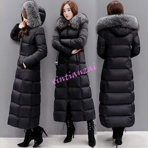 Chic Womens Fur Collar Overlong Coat Duck Down Jacket Parka ...
