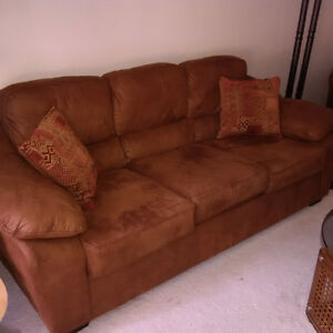 Brown Microfibre Couch + 2 Matching Chairs
