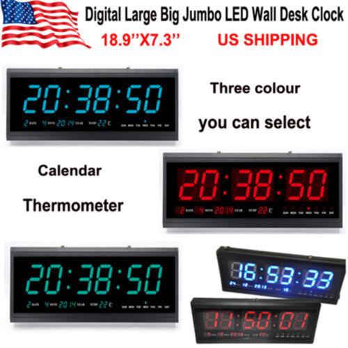 Digital Large Big Jumbo LED Wall Desk Clock W/ Calendar Temperature Home Office