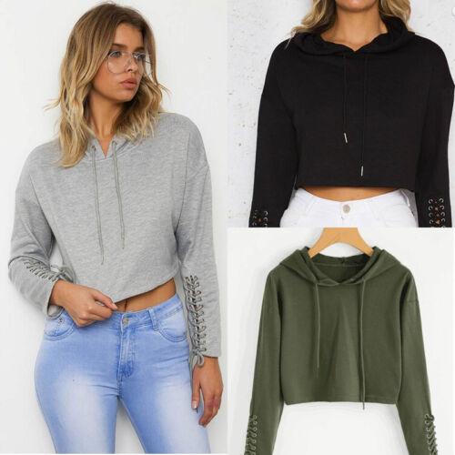 US STOCK Women Hoodie Jumper Sweatshirt  Casual Crop Top Coat Sports Pullover