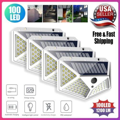 100 LED Solar Power PIR Motion Sensor Light Outdoor Waterproof Security Garden