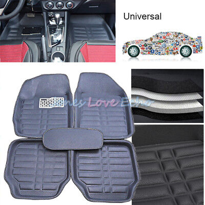 5pcs Universal Car Floor Mats FloorLiner FrontRear Carpet All Weather Mat Black