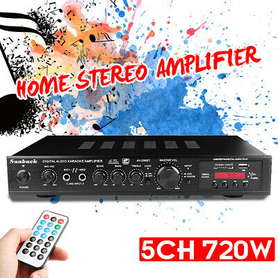 720W Audio Estéreo bluetooth Amplificador Coche 5 CH Hogar Música HiFi MP3...