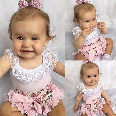 2017 Infant Baby Girl Lace Tops T-shirt+Floral Shorts Culottes 2pcs Outfits Sets](New Outfit 2017)
