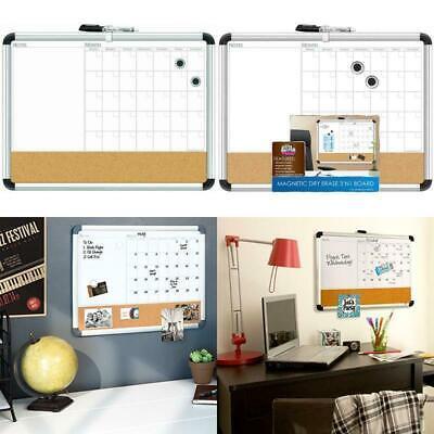 Board Dudes 17 X 23 Aluminum Framed Magnetic 3-in-1 Dry Erase Cork Calendar Boar