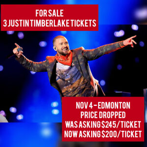 3 tickets to SOLD OUT Nov 4 Justin Timberlake Concert