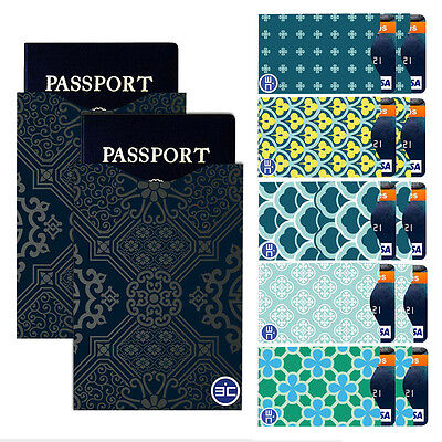 Fashion I3C RFID Blocking 10 Credit Card&2 Passport Holder Protector Sleeves